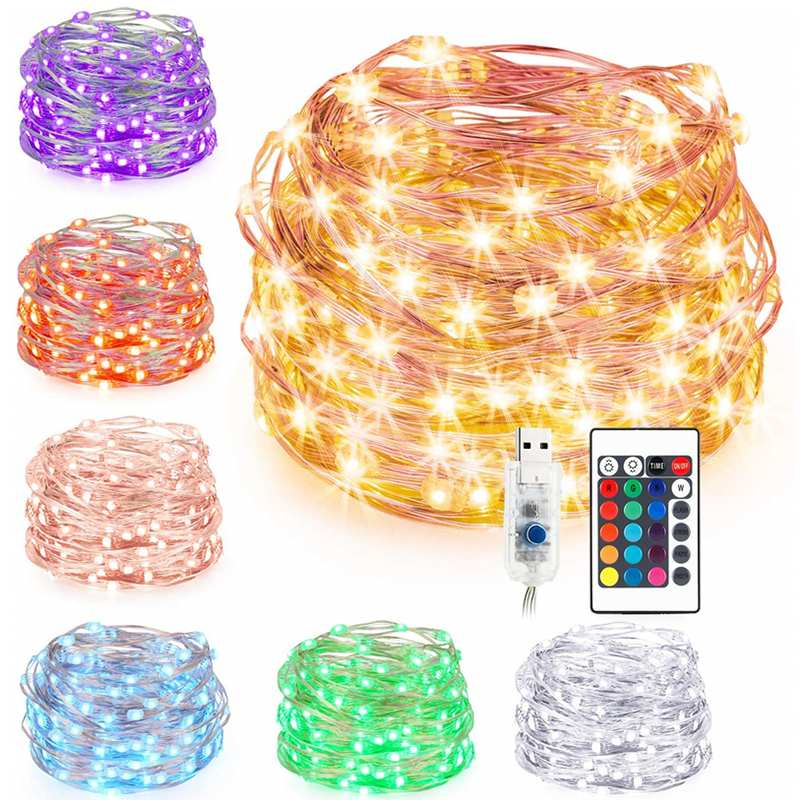 7M 10M DC5V USB RGB LED Fairy String Light with 24key Remote Control for Chrismas Tree's Decoration 16Colors|Lighting Strings| |  - title=