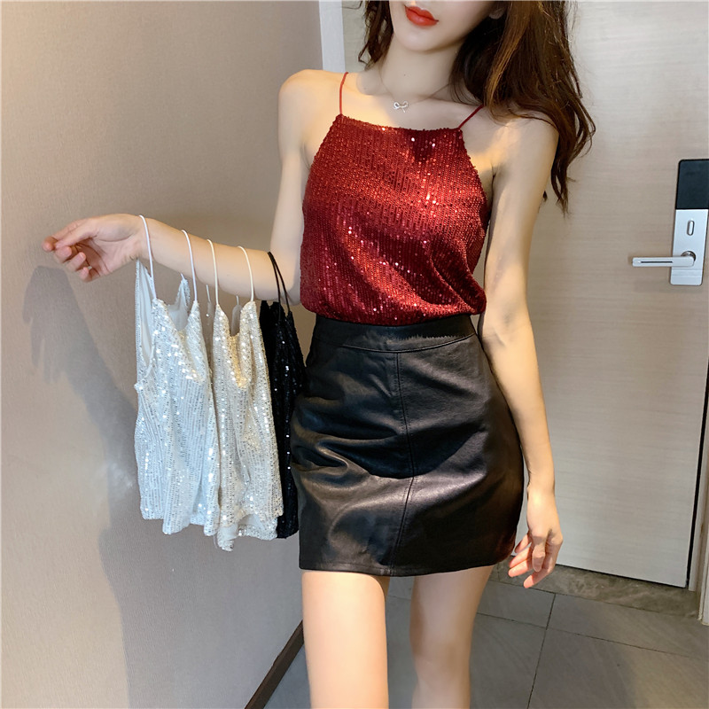 Women Shinning Elasticity Sequins Camis Tops Girls 2020 Summer Sexy Fashion  Tanks Crop Top For Female Available Stock - Best Promo #971F4C   Cicig