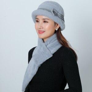 Image 4 - ใหม่หมวกฤดูหนาวหมวกชุดผู้หญิงอบอุ่นถัก Skullies ขนสัตว์กระต่าย Beanies สีทึบ Mink Plush Bow Baggy หมวก Headwear