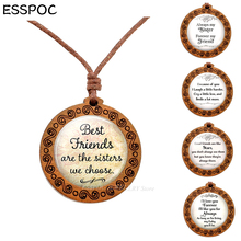 Best Friend Wood Necklace Wooden Pendant Always My Sister Forever My Friend Friendship Necklaces Sisters Glass Dome Jewelry Gift цена