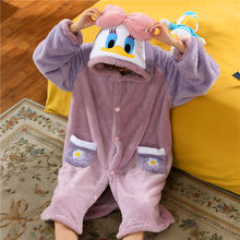 Famous Duck Flannel Long Sleeve Pajamas Daisy Cosplay Costumes For Women Winter Thick Homewear Night Robe Cotton Clothing