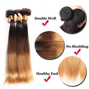 Image 5 - Прямые пряди волос омбре с застежкой, пучки человеческих волос Remy с застежкой на шнуровке, перуанские волосы Омбре, 3 пряди застежкой