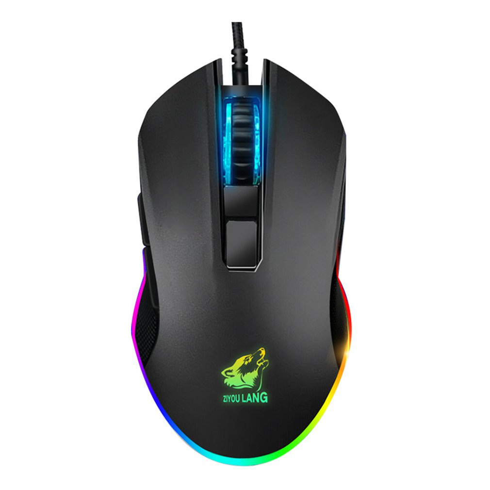 V1 Gaming Mouse Wired RGB Light 8 Programmable Buttons Optical Sensor Gamer Mice Black Game Mouse Ergonomic Design