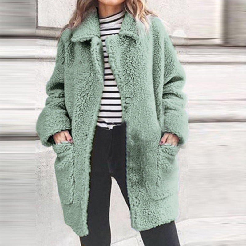 Faux Fur Coat Women Autumn Winter Thick Warm Soft Fleece Jacket Pocket Zipper Outerwear Overcoat Bear Teddy Coat