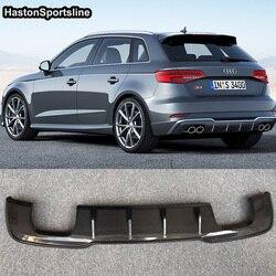 Dla Audi A3 S3 RS3 s-line Hatchback dyfuzor tylnego zderzaka z włókna węglowego 2017 2018 2019 akcesoria do modyfikacji samochodów