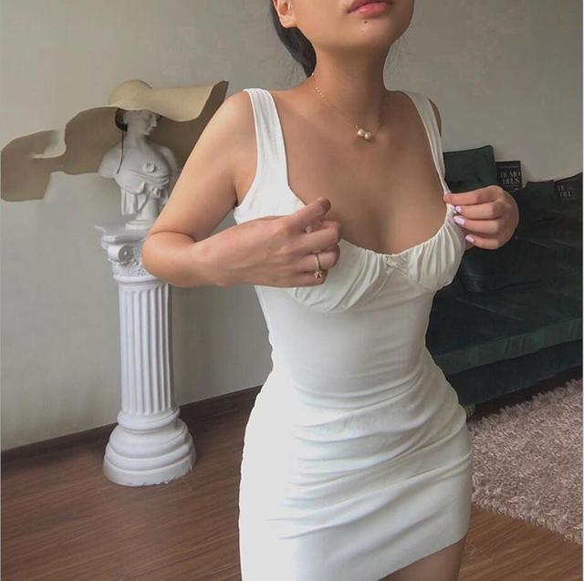 Summer Sexy Dresses Bow knot pleated sling U-neck Backless Cross Bandage Bodycon Party Dress Pleated Stretch Short Club Dress 1