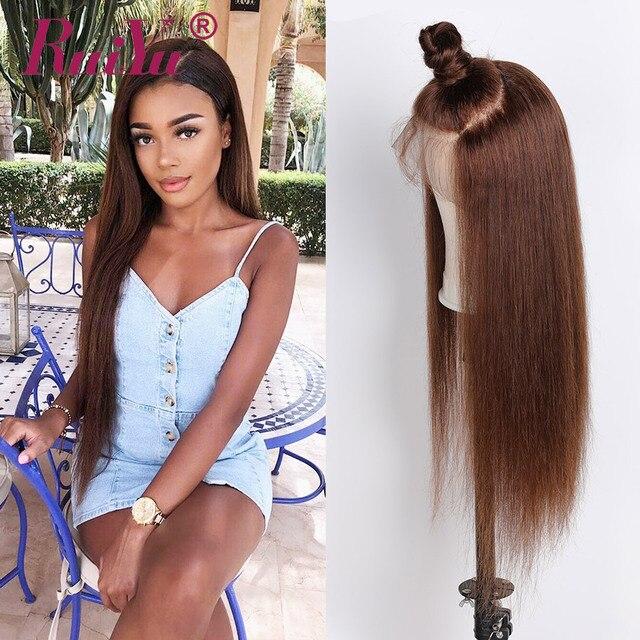 Perruque Lace Front wig naturelle brésilienne Remy-RUIYU   Cheveux humains, reflets, 13x4, 150 de densité, perruque pour femmes