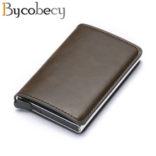 Bycobecy Business ID Card Case Men Credit Holders  Fashion Automatic RFID Holder Aluminium Bank Wallets