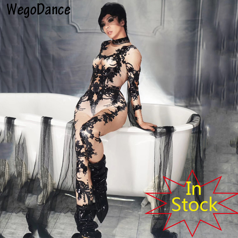 New Black Pattern Rhinestones Bodysuit Singer Dance Costume Outfit Stage Performance Party Performance Dance Women Clothing|Jumpsuits|   - title=