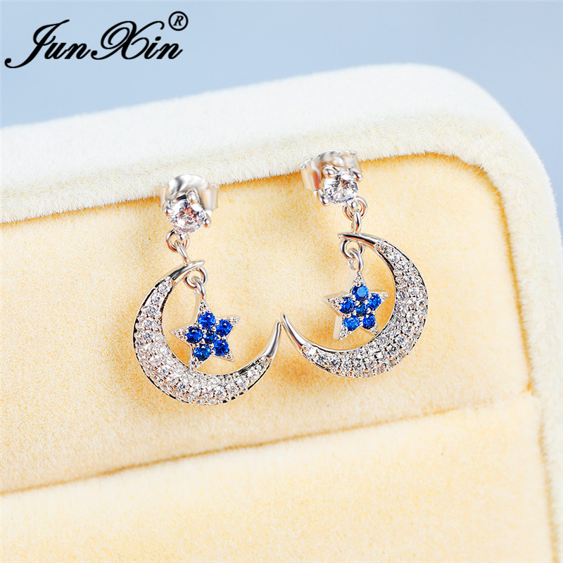 Boho Female Crystal Cute Blue Star Moon Earrings White Gold White CZ Stone Long Stud Earrings For Women Wedding Jewelry