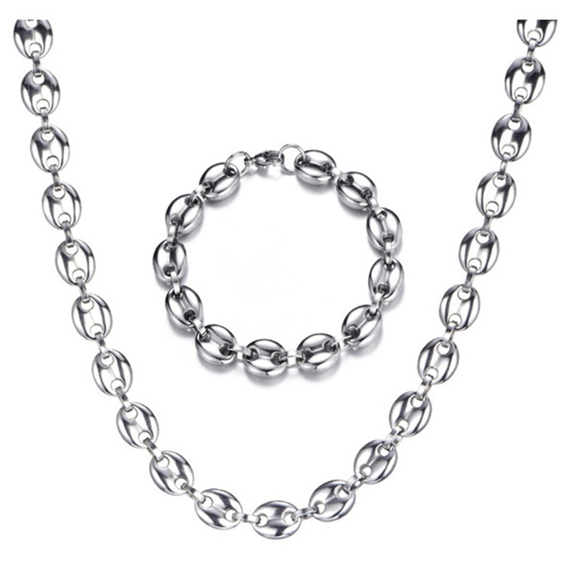 Men's Necklaces Coffee Beans Chain Bracelets Set Stainless Steel 11CM Gold/Silver Link Chains Hiphop Jewelry USENSET