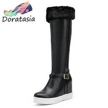 DORATASIA High Height Increasing Boots Ladies Elegant Platform Knee High Snow Boots Women 2019 Winter High Heels Shoes Woman цена