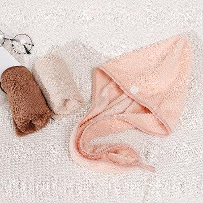 Coral Velvet Dry Hair Cap Fast Drying Towel Button Towel Turban Dry Bath Towel Double-sided Magic Microfiber Quick Cap
