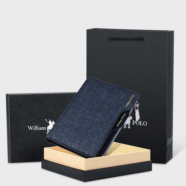 WILLIAMPOLO Small wallet Men Denim purse credit card Holder  coin purse  Leisure Driver License Zipper wallet 2019 fashion
