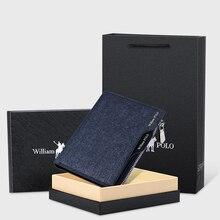 WILLIAMPOLO קטן ארנק גברים ג ינס ארנק אשראי כרטיס בעל מטבע ארנק פנאי נהג רישיון רוכסן ארנק 2019 אופנה