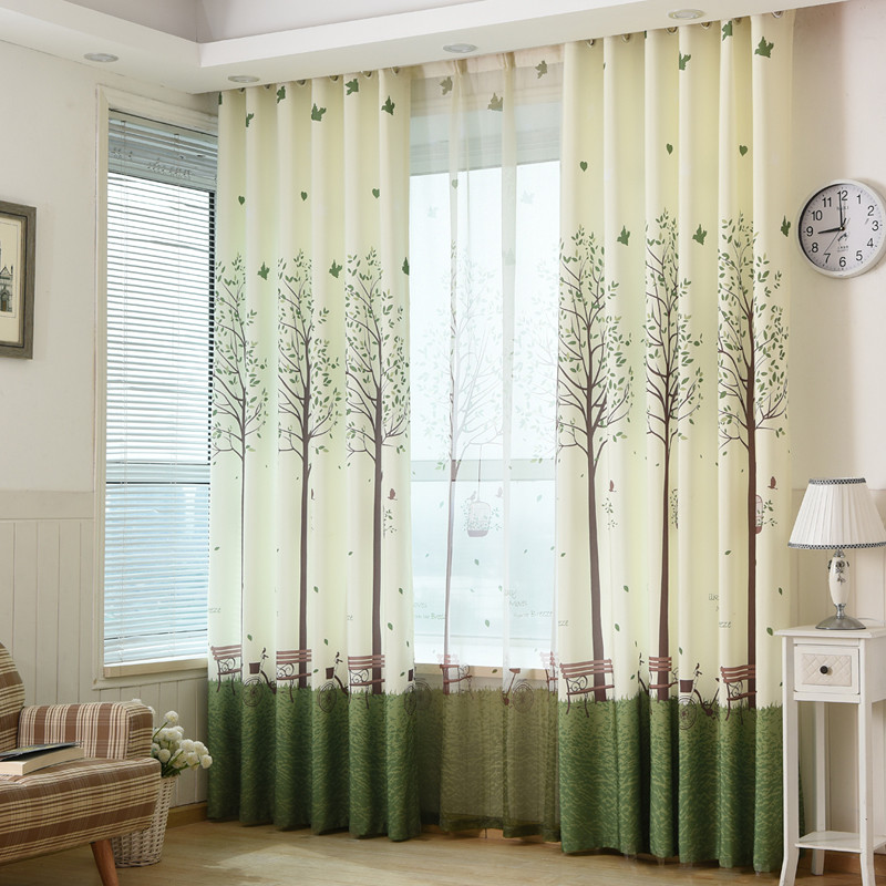 Country Style Curtains For Living Room Bird And Tree Printed Kids Semi-Shading Bedroom Window Curtain Panels Polyester Fabric