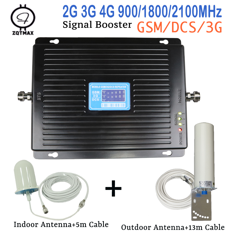 ZQTMAX 2g 3g 4g Gsm Mobile Signal Booster 900 1800 2100 Repeater Lte UMTS Data Cellular Signal Amplifier 75dB With 12dbi Antenna