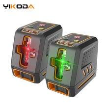 Yikoda laser nível duplo módulo cruz 2 linhas vermelho/verde feixe portátil mini medidor ferramentas de medição instrumentação