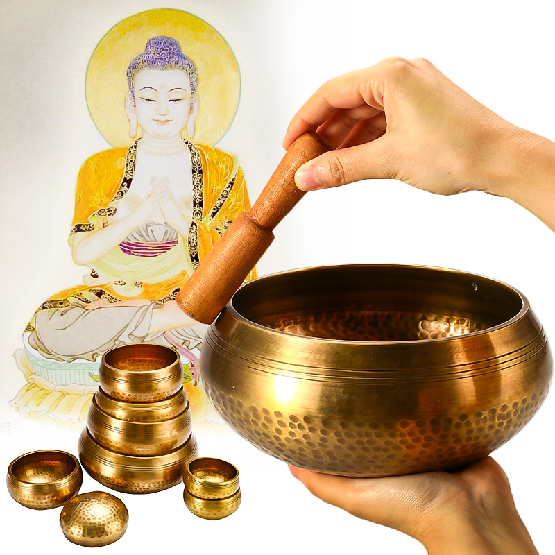 8-17.5cm Tibetan Singing Bowl Buddhism Meditation Bell Sound Therapy Buddhist Brass Bowl Yoga Chakra Healing Spiritual Gift