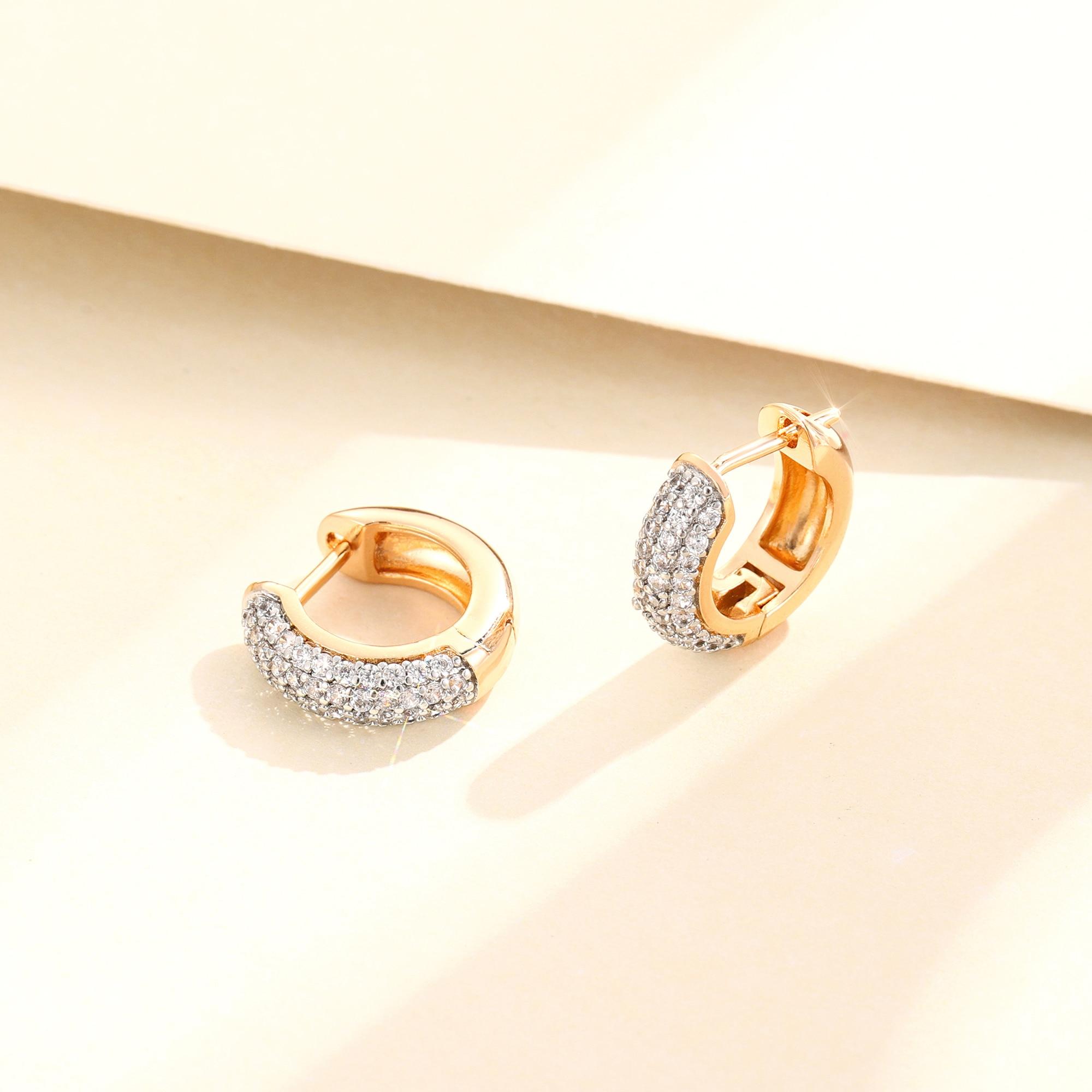 Модный стиль золотой цвет кубические серьги-кольца с цирконом женские ювелирные кольца для женщин, роскошные вечерние свадебные Любовь Под...