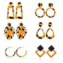 Earrings Set Pendientes Earing Aretes De Mujer Oorbellen New Plate Acetate Leopard Leaves Geometric Exaggerated Adorn Article