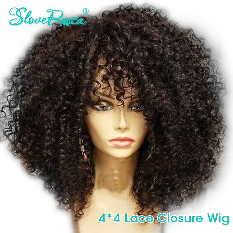 Lace Closure Wig Human-Hair Slove Rosa Glueless Kinky-Curly-Pre-Plucked Women Brazilian