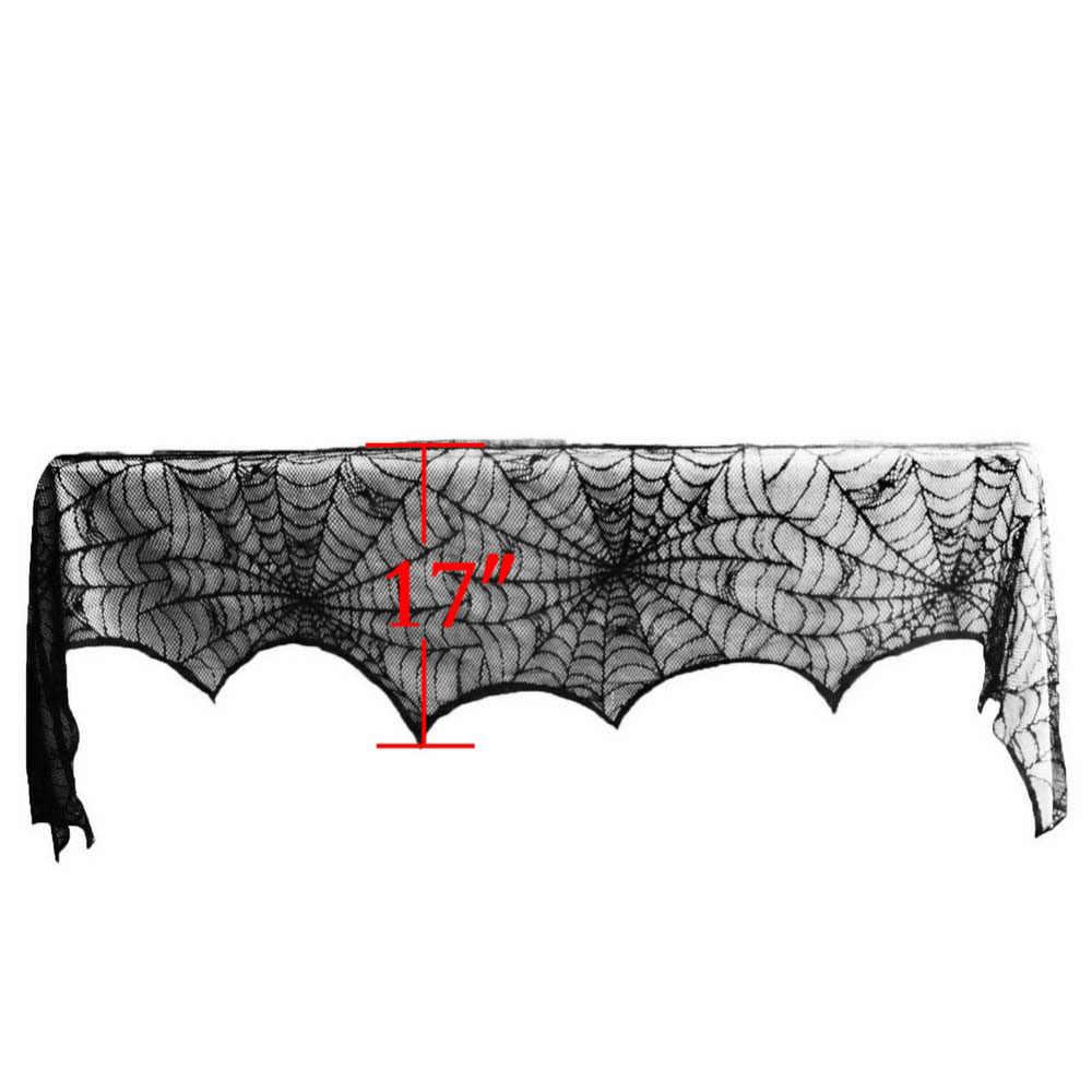Spider web เตาผิงผ้าพันคอฮาโลวีนเสื้อคลุมลูกไม้สีดำตกแต่ง 244*46 ซม.เพิ่มบรรยากาศเทศกาล
