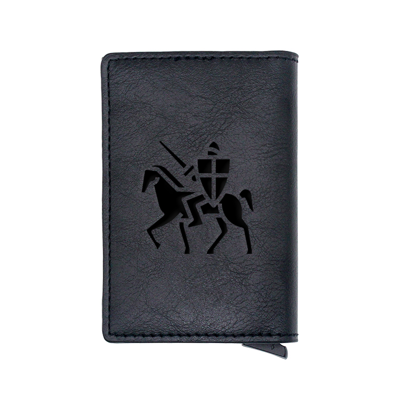 Classic Ordre du Temple Design Card Holder Wallets Men Women Rfid Leather Short Purse Slim Mini Wallet Small Money Bag