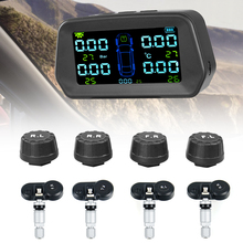 Tpms Bandenspanning Alarm Monitor Solar Power Tyre Pressure Monitoring System Met 4 Externe Sensoren Auto Alarm Security
