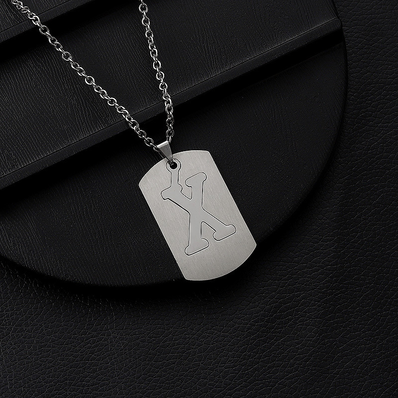Купить с кэшбэком Polished Titanium Alloy Single ABC Pendant Necklace Shine Stainless Steel Jewelry Cross Chain 3 Forms of Separation Hiphop Rock