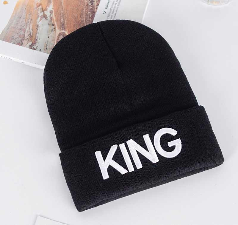 Couples Fashionable Apparel Accessories Knit Embroidered Wool Hats Delicate Winter Warm Black Color Letter QUEEN KING Hat