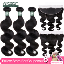 Aircabin Body Wave 3/4 Bundles With 13x4 Frontal Closure Brazilian Remy Human Hair Lace Frontal With Bundles Natural Color