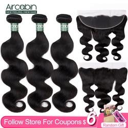 Aircabin-mèches cheveux Remy brésiliens avec Frontal Closure 3/4, Body Wave, couleur naturelle 13x4, en lots