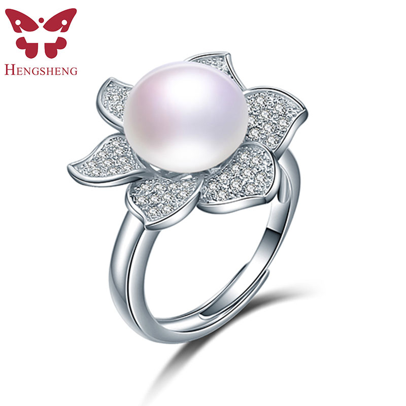 Flower 925 Sterling Silver Pearls Ring Resizable Engagement Wedding Jewelry For Women, Big 10mm Natural Freshwater Pearl Ring