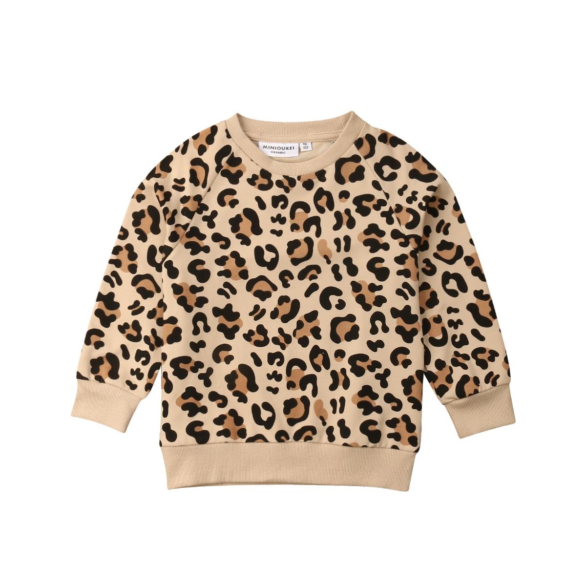 T-Shirt Long-Sleeve Leopard Autumn Print Baby-Girl-Boy Kids Cotton New