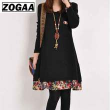 Autumn Dress Plus Size Vintage Women Floral Printed Pocket Streetwear Patchwork Long Sleeve Loose Shiirt ZOGAA