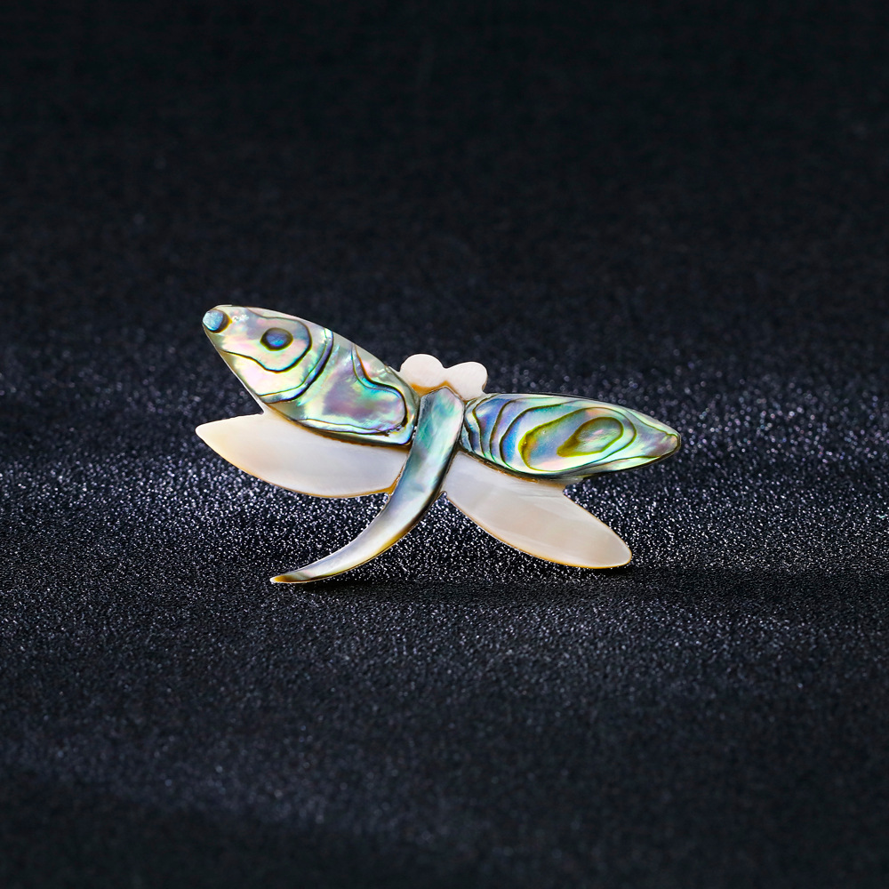 A new style of retro dragonfly brooch European and American fashion natural abalone shell series chest flower spot in Brooches from Jewelry Accessories