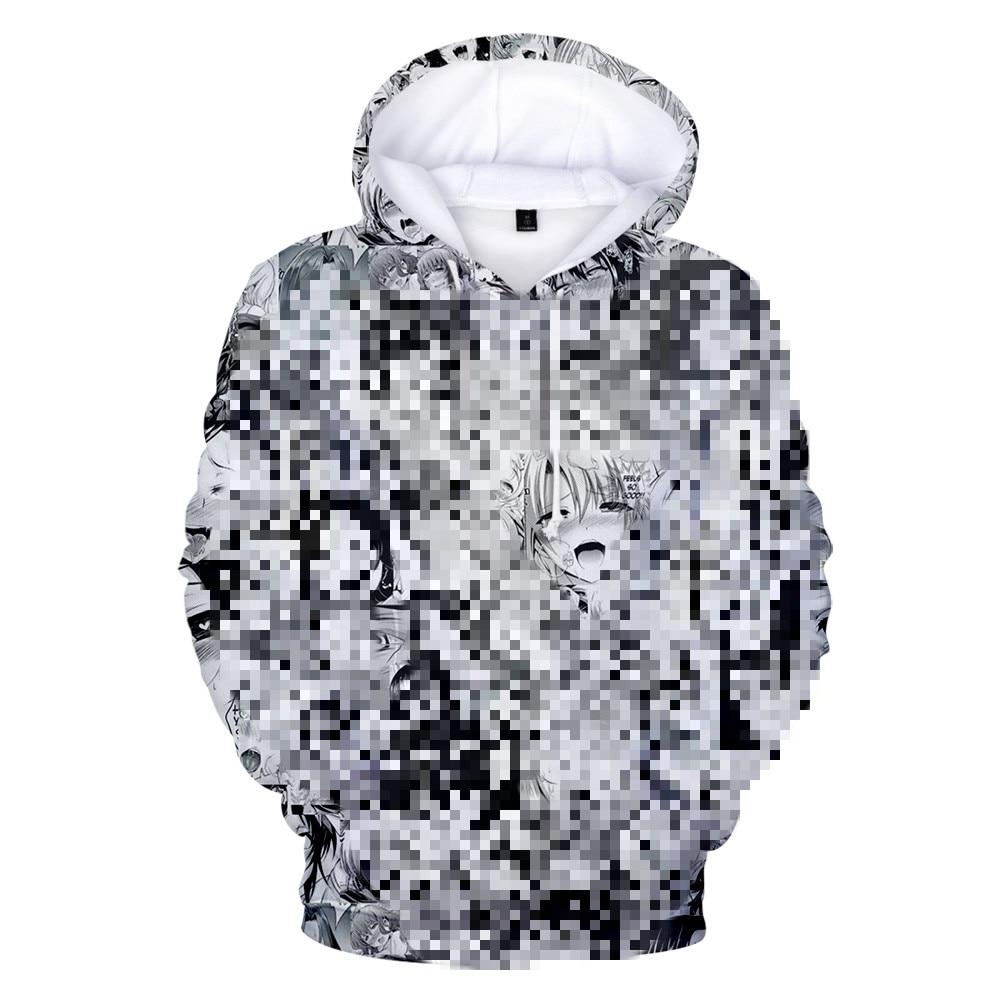 3d Ahegao Hoodies Hooded Women Men Funny Shy Girl Face Sweatshirt