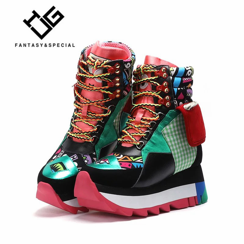 Genuine Leather Sneakers Women Trendy Increasing Dad Shoes Woman Fashion Thick Sole Ladies Platform Shoe Laces Zapatillas Mujer