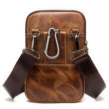 Nuevo bolso retro de la cintura de los hombres de la vendimia mini bolso de cuero de vaca natural vertical de desgaste de la correa del teléfono móvil pequeño bolso casual de mensajero de los deportes