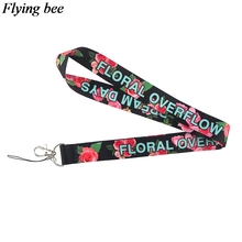 Flyingbee Rose floral Phone Lanyard Cool Lanyards for Keys Phone Rope Keychanis Keyring Neck Straps Phone Accessories X0626