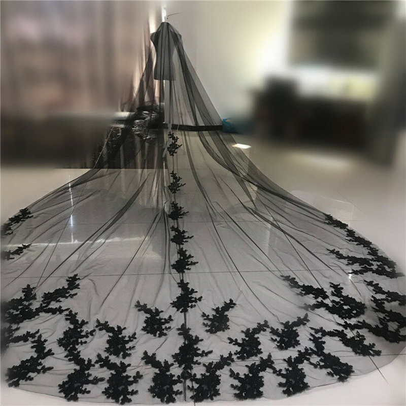 Black 3Meters Wedding Veil Two Layers Lace Applique Long Bridal Veil With Metal Comb