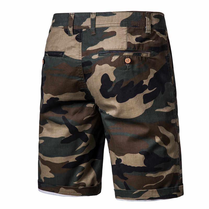2020 yeni yaz % 100% pamuk kamuflaj şort erkekler diz boyu rahat askeri erkek şort yüksek kaliteli spor kısa erkekler