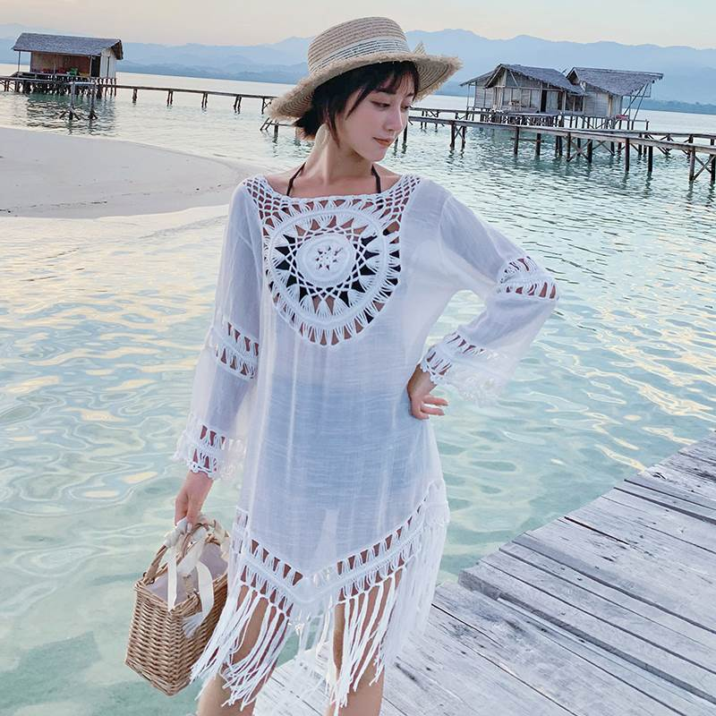 Beach Tunics For Women Summer Swimsuits Bath Exit Bathrobe Swimsuit Coverup 2019 New Lightweight Loose Outdoor Sports Hollowed