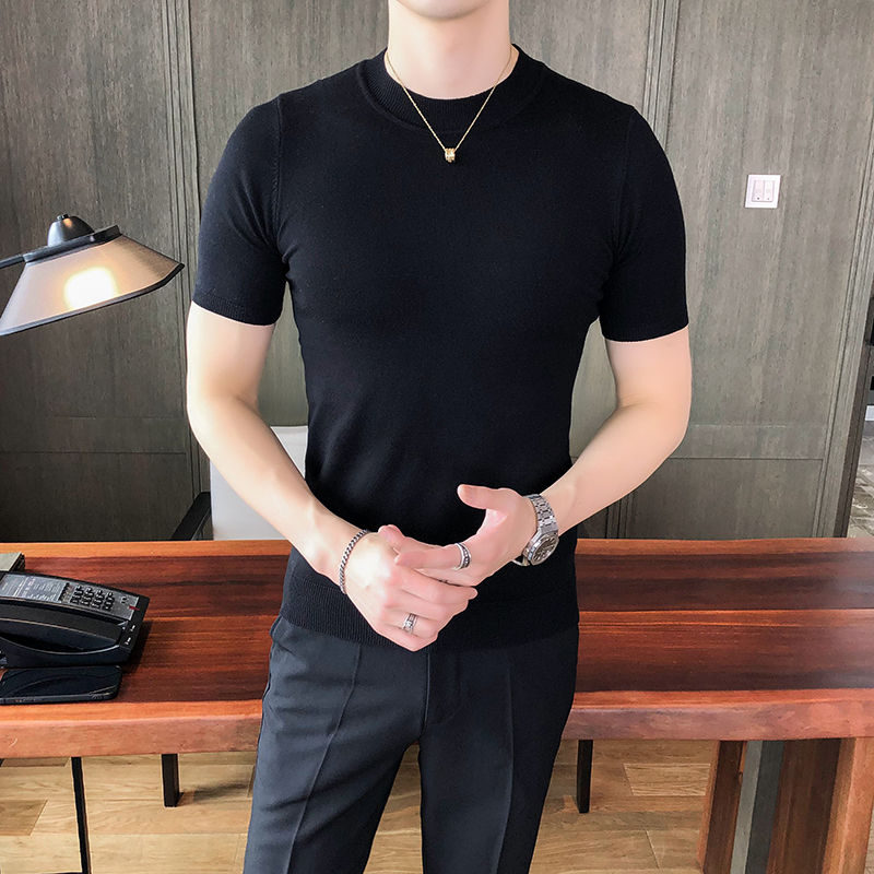 2021 Brand clothing Fashion Men summer slim fit Short-sleeved knit sweater/Male slim fit Round collar leisure Knit shirt S-3XL 2