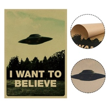 I Want To Believe X File TV Play Kraft Prints Modern Painting Posters Wall Art Pictures For Living Room Decoration No Frame