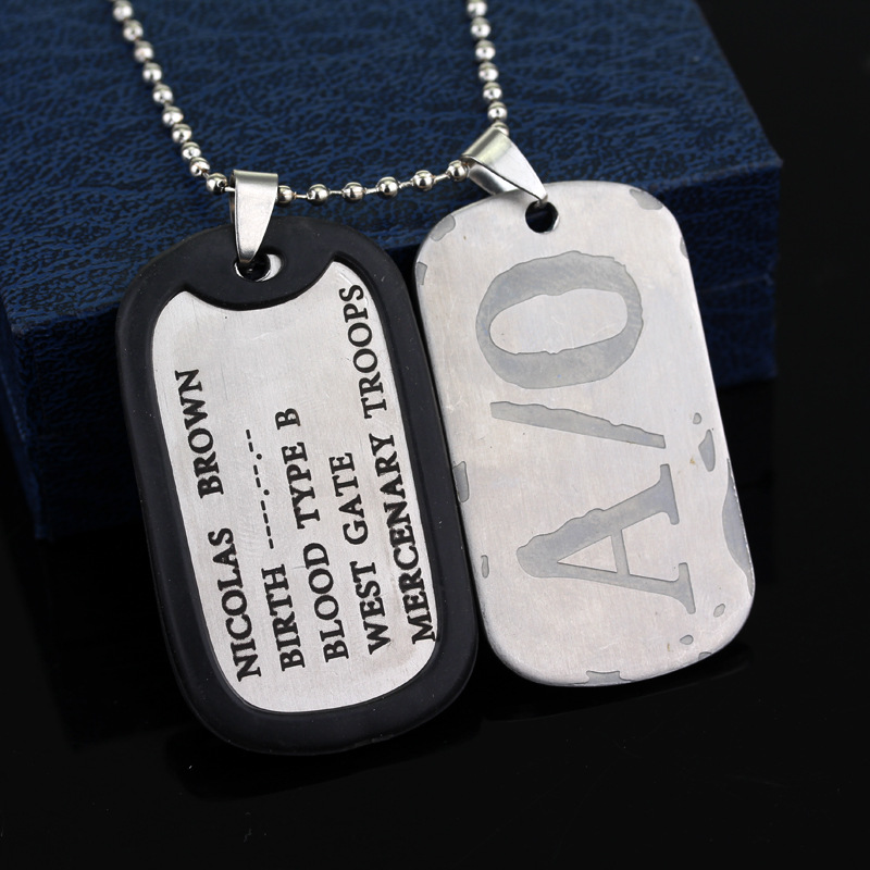 <font><b>Gangsta</b></font> A/0 Dog Tag Nicolas Brown Mercenary Necklace Pendant <font><b>Gangsta</b></font> Titanium Steel pendant for men fashion jewelry amulet image