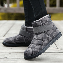 цена на Fashion Men Boots High Quality Waterproof Non-slip Women Ankle Snow Boots Shoes Warm Fur Plush Hook & Loop Man Winter Shoes z322