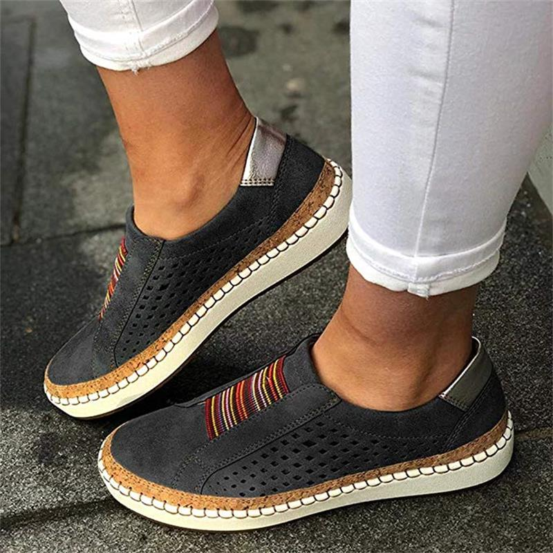 Hollow Out Women's Shoes Hand-stitched Striped Breathable Elastic Band Casual Flat Suitable for Wide Leg Women's Sneaker 4