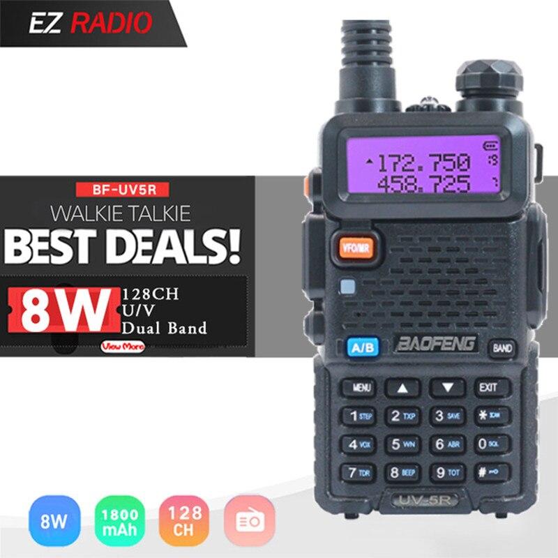 Baofeng UV-5R Walkie Talkie 5W 8W 10 km Two Way Radio Station uv 5r hunting Radio Receiver uv5r UV-9R UV-82 UV-8HX walkie-talkie